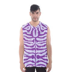 Skin2 White Marble & Purple Denim (r) Men s Basketball Tank Top