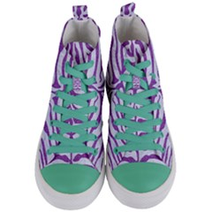 Skin2 White Marble & Purple Denim (r) Women s Mid Top Canvas Sneakers
