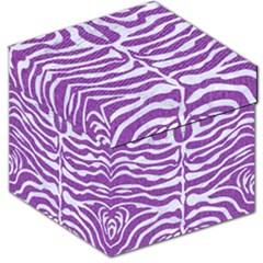 Skin2 White Marble & Purple Denim Storage Stool 12