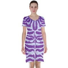 Skin2 White Marble & Purple Denim Short Sleeve Nightdress