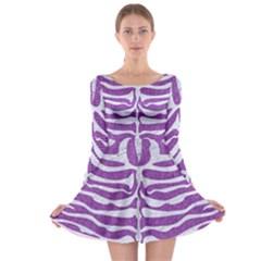 Skin2 White Marble & Purple Denim Long Sleeve Skater Dress