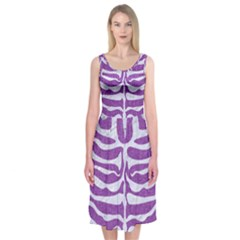 Skin2 White Marble & Purple Denim Midi Sleeveless Dress