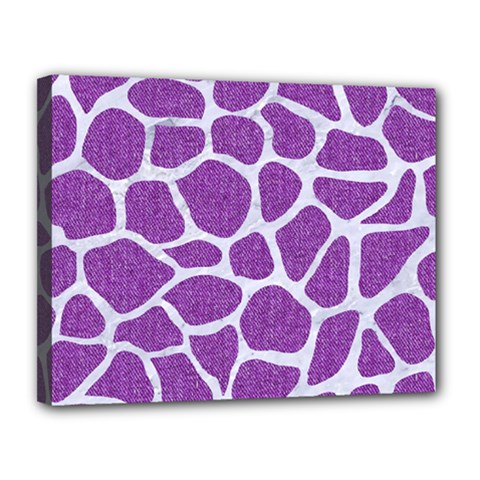 Skin1 White Marble & Purple Denim (r) Canvas 14  X 11  by trendistuff
