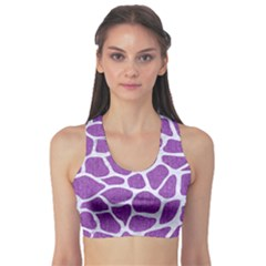 Skin1 White Marble & Purple Denim (r) Sports Bra