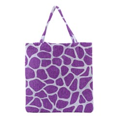 Skin1 White Marble & Purple Denim (r) Grocery Tote Bag