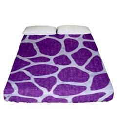 Skin1 White Marble & Purple Denim (r) Fitted Sheet (queen Size) by trendistuff