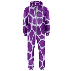 Skin1 White Marble & Purple Denim (r) Hooded Jumpsuit (men)