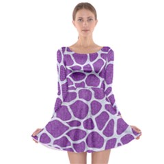 Skin1 White Marble & Purple Denim (r) Long Sleeve Skater Dress