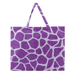 Skin1 White Marble & Purple Denim (r) Zipper Large Tote Bag