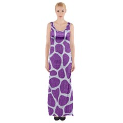 Skin1 White Marble & Purple Denim (r) Maxi Thigh Split Dress