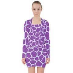 Skin1 White Marble & Purple Denim (r) V Neck Bodycon Long Sleeve Dress