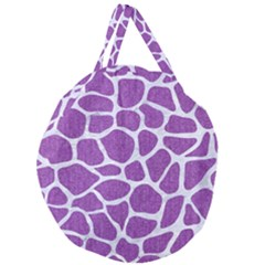 Skin1 White Marble & Purple Denim (r) Giant Round Zipper Tote by trendistuff