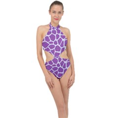 Skin1 White Marble & Purple Denim (r) Halter Side Cut Swimsuit