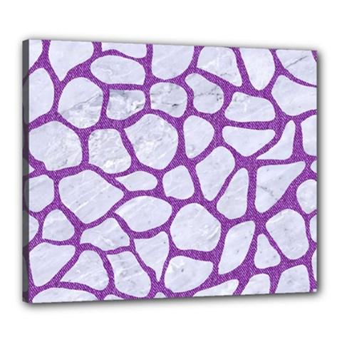 Skin1 White Marble & Purple Denim Canvas 24  X 20