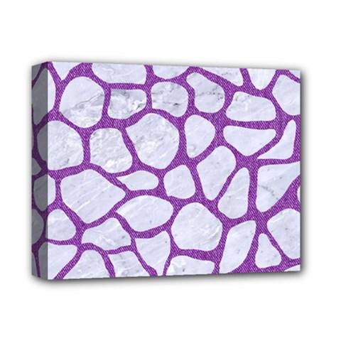 Skin1 White Marble & Purple Denim Deluxe Canvas 14  X 11  by trendistuff