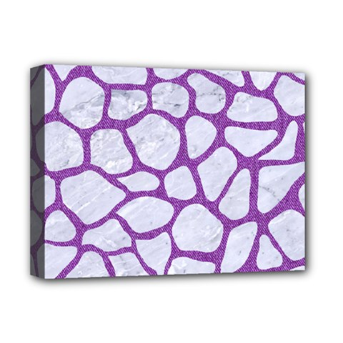 Skin1 White Marble & Purple Denim Deluxe Canvas 16  X 12