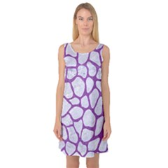 Skin1 White Marble & Purple Denim Sleeveless Satin Nightdress