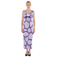 Skin1 White Marble & Purple Denim Fitted Maxi Dress
