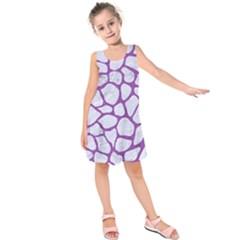 Skin1 White Marble & Purple Denim Kids  Sleeveless Dress