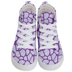Skin1 White Marble & Purple Denim Kid s Hi Top Skate Sneakers