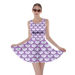 Scales3 White Marble & Purple Denim (r) Skater Dress