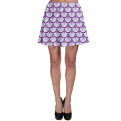 Scales3 White Marble & Purple Denim (r) Skater Skirt