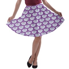 Scales3 White Marble & Purple Denim (r) A Line Skater Skirt