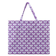 Scales3 White Marble & Purple Denim (r) Zipper Large Tote Bag