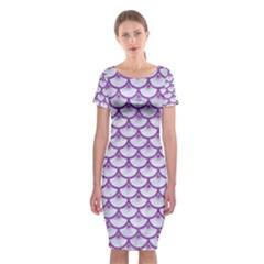 Scales3 White Marble & Purple Denim (r) Classic Short Sleeve Midi Dress