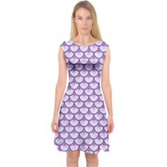 Scales3 White Marble & Purple Denim (r) Capsleeve Midi Dress