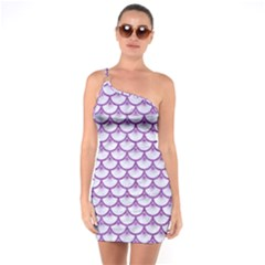Scales3 White Marble & Purple Denim (r) One Soulder Bodycon Dress