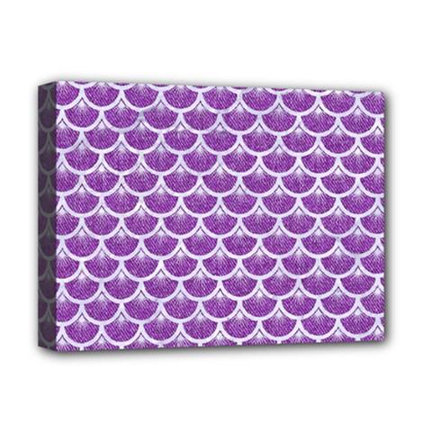 Scales3 White Marble & Purple Denim Deluxe Canvas 16  X 12