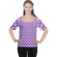 Scales3 White Marble & Purple Denim Cutout Shoulder Tee