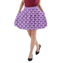 Scales3 White Marble & Purple Denim A Line Pocket Skirt