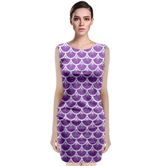 Scales3 White Marble & Purple Denim Classic Sleeveless Midi Dress