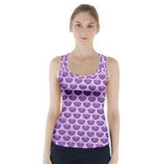 Scales3 White Marble & Purple Denim Racer Back Sports Top
