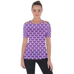 Scales3 White Marble & Purple Denim Short Sleeve Top