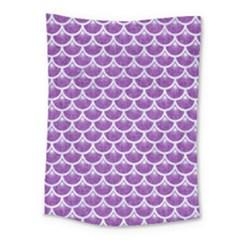 Scales3 White Marble & Purple Denim Medium Tapestry