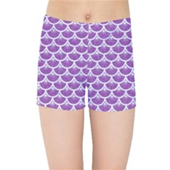 Scales3 White Marble & Purple Denim Kids Sports Shorts