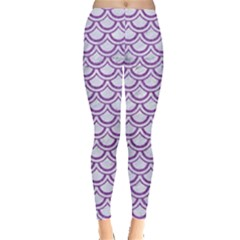 Scales2 White Marble & Purple Denim (r) Leggings