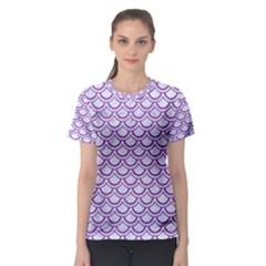 Scales2 White Marble & Purple Denim (r) Women s Sport Mesh Tee