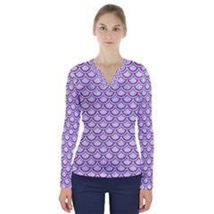 Scales2 White Marble & Purple Denim (r) V Neck Long Sleeve Top