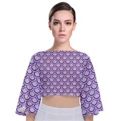 Scales2 White Marble & Purple Denim (r) Tie Back Butterfly Sleeve Chiffon Top