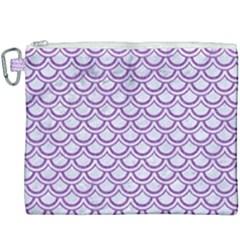 Scales2 White Marble & Purple Denim (r) Canvas Cosmetic Bag (xxxl) by trendistuff