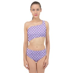 Scales2 White Marble & Purple Denim (r) Spliced Up Swimsuit