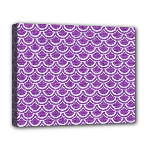 Scales2 White Marble & Purple Denim Deluxe Canvas 20  X 16