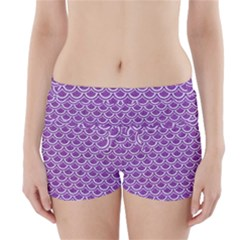 Scales2 White Marble & Purple Denim Boyleg Bikini Wrap Bottoms