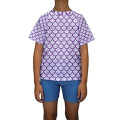 Scales1 White Marble & Purple Denim (r) Kids  Short Sleeve Swimwear