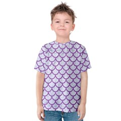 Scales1 White Marble & Purple Denim (r) Kids  Cotton Tee