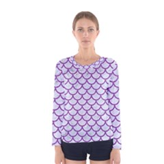 Scales1 White Marble & Purple Denim (r) Women s Long Sleeve Tee